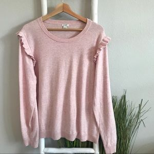 J. Crew Factory | Pink Ruffle Shoulder Sweater